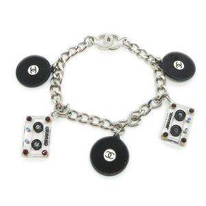 CHANEL CC Logos Cassette Tape Record Charm Silver